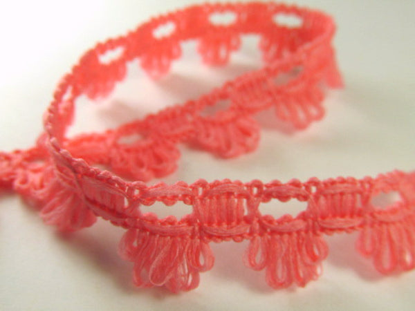 Soft and Fuzzy 15mm Scalloped Trim in Yellow or Pink Coral-Trims-Coral Pink-Odyssey Cache