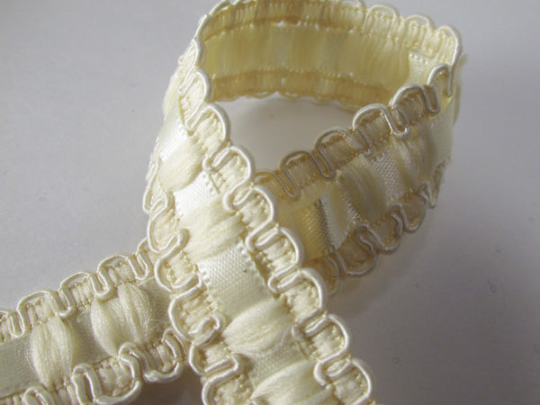 Lace and Satin Ribbon Insert 18mm Wide Braided Trim in White, Ivory or Beige-Trims-Ivory-Odyssey Cache