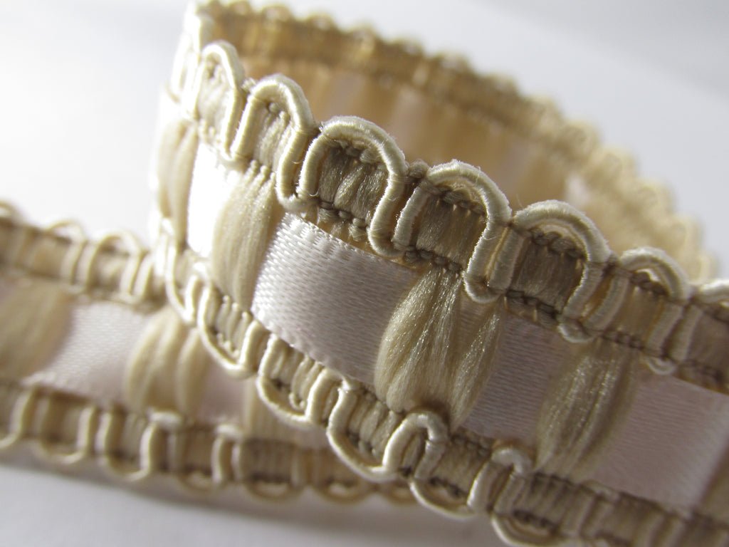 Lace and Satin Ribbon Insert 18mm Wide Braided Trim in White, Ivory or Beige-Trims-Beige-Odyssey Cache