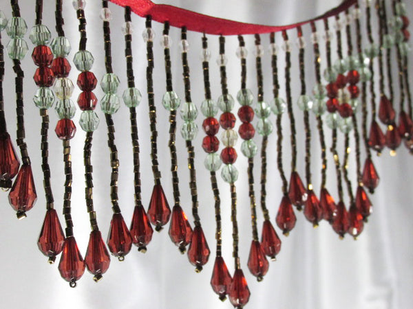 Elegance in Dark Red, Erinite Green and Bronze 3.75 inch Long Beaded Fringe Trim-Beaded Fringe-Yard-Odyssey Cache