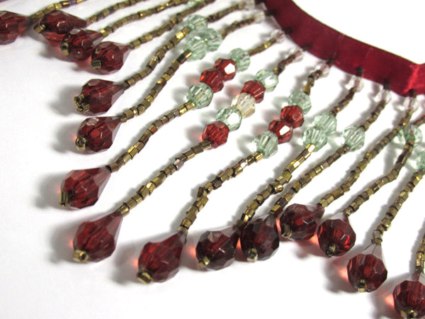 Elegance in Dark Red, Erinite Green and Bronze 3.75 inch Long Beaded Fringe Trim - Odyssey Cache