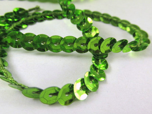 Single Strand Sequined Trim in 6 colors - 2 yards-Trims-lime green-Odyssey Cache