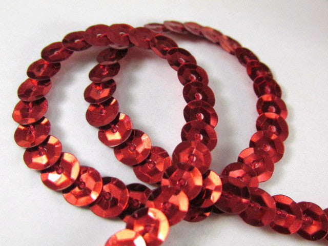 Single Strand Sequined Trim in 6 colors - 2 yards-Trims-red-Odyssey Cache