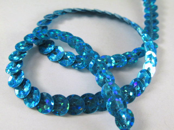 Single Strand Sequined Trim in 6 colors - 2 yards-Trims-turquoise hologram-Odyssey Cache