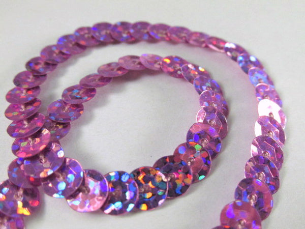 Single Strand Sequined Trim in 6 colors - 2 yards-Trims-lavender pink hologram-Odyssey Cache