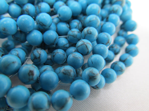 Simulated Turquoise 6mm Round Stone Beads-Jewelry Beads-32 beads (half strand)-Odyssey Cache