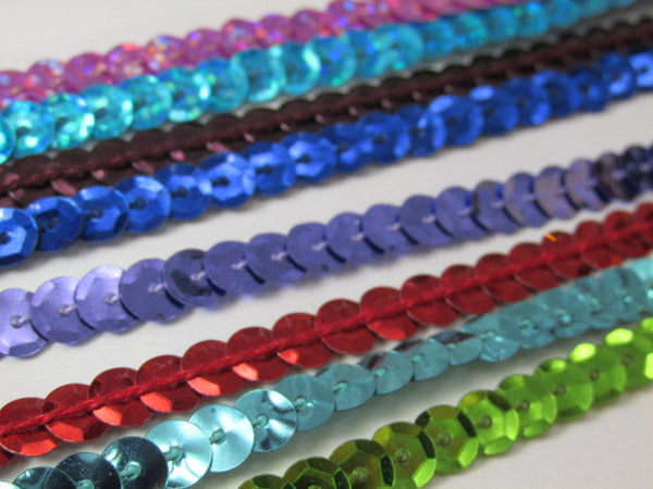 Single Strand Sequined Trim in 6 colors - 2 yards-Trims-Odyssey Cache