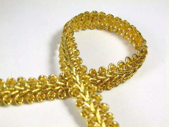 1/4 inch or 8mm Metallic Gold or Silver Romanesque Gimp Trim-Trims-Metallic Gold-Odyssey Cache