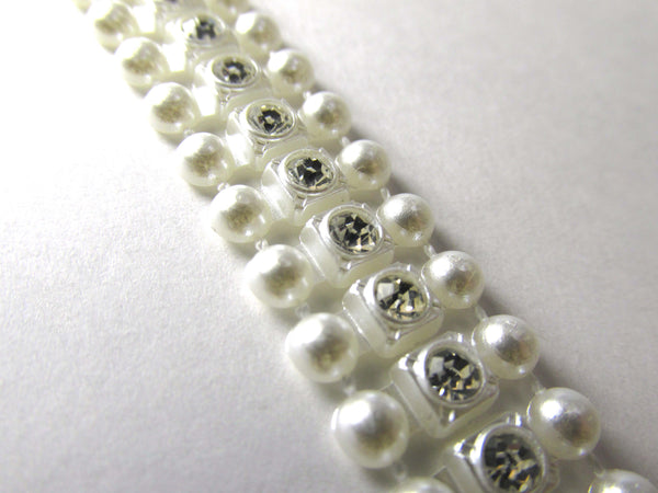 White Pearl and Rhinestone 1/2 inch 14mm Wide Bridal Trim - Odyssey Cache