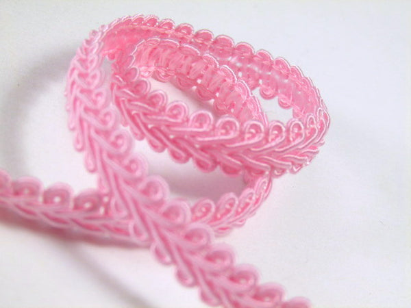 1/4 Inch or 8mm Flat Scroll Romanesque Gimp Trim in 19 colors-Trims-Pink-Odyssey Cache