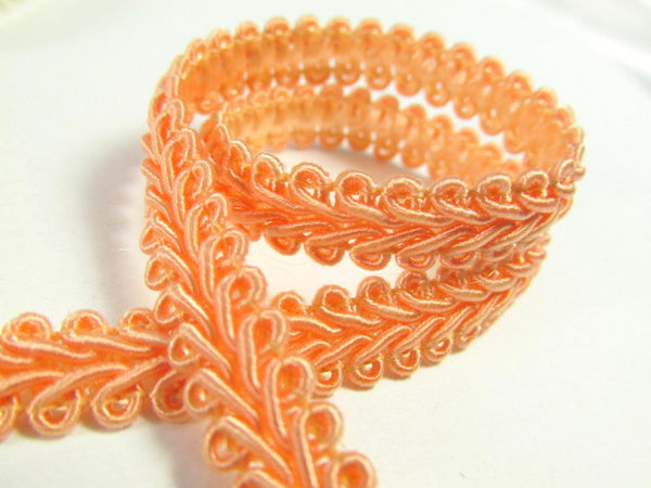 1/4 Inch or 8mm Flat Scroll Romanesque Gimp Trim in 19 colors-Trims-Coral Peach-Odyssey Cache