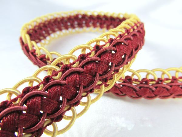 Double Scalloped Border Red and Gold Braided Gimp Decorator Trim-Trims-Odyssey Cache