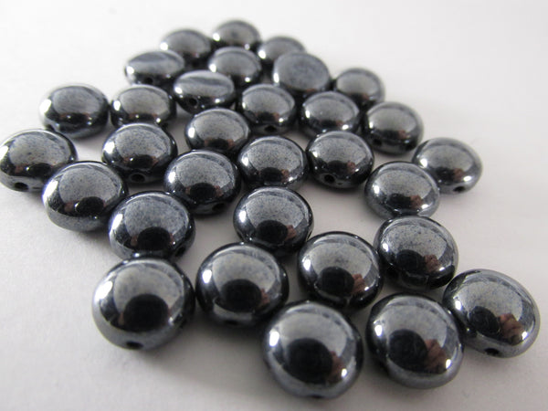 Gunmetal 2 Hole 8mm Cabochon Candy Beads (25)-Jewelry Beads-Odyssey Cache