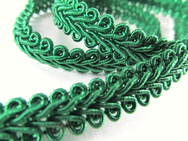 1/4 Inch or 8mm Flat Scroll Romanesque Gimp Trim in 19 colors-Trims-Emerald Green-Odyssey Cache