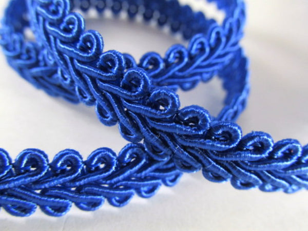 1/4 Inch or 8mm Flat Scroll Romanesque Gimp Trim in 19 colors-Trims-Royal Blue-Odyssey Cache