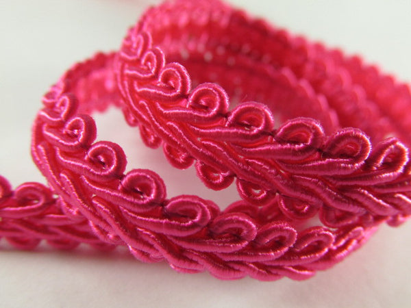 1/4 Inch or 8mm Flat Scroll Romanesque Gimp Trim in 19 colors-Trims-Hot Pink Fuchsia-Odyssey Cache
