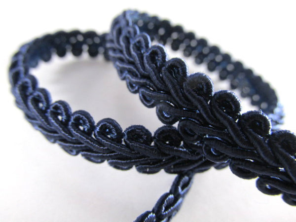 1/4 Inch or 8mm Flat Scroll Romanesque Gimp Trim in 19 colors-Trims-Navy Blue-Odyssey Cache
