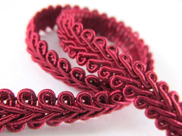 1/4 Inch or 8mm Flat Scroll Romanesque Gimp Trim in 19 colors-Trims-Burgundy-Odyssey Cache