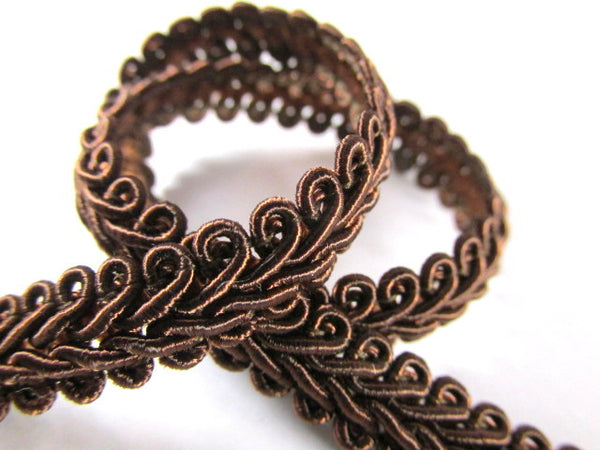 1/4 Inch or 8mm Flat Scroll Romanesque Gimp Trim in 19 colors-Trims-Brown-Odyssey Cache