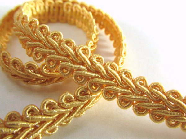 1/4 Inch or 8mm Flat Scroll Romanesque Gimp Trim in 19 colors-Trims-Harvest Gold-Odyssey Cache