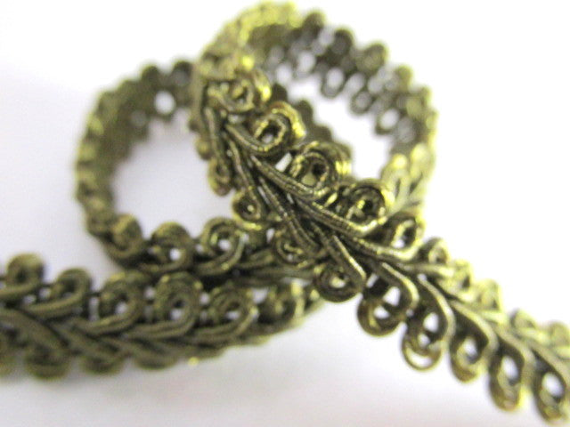 1/4 Inch or 8mm Flat Scroll Romanesque Gimp Trim in 19 colors-Trims-Olive Green-Odyssey Cache