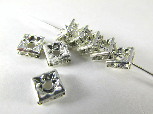 Silver Square 6mm Clear Crystal Squaredelle Spacers (10)-Jewelry Beads-Odyssey Cache
