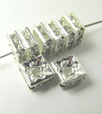 Silver Square 6mm Clear Crystal Squaredelle Spacers (10) - Odyssey Cache