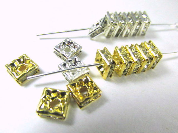 Silver Square 6mm Clear Crystal Squaredelle Spacers (10) - Odyssey Cache - 5