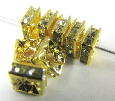 Gold Square Clear Crystal 6mm Squaredelle Spacer Beads (10) - Odyssey Cache