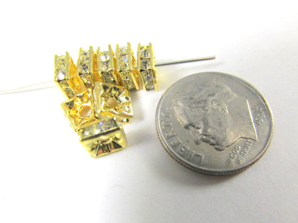 Gold Square Clear Crystal 6mm Squaredelle Spacer Beads (10)-Jewelry Beads-Odyssey Cache