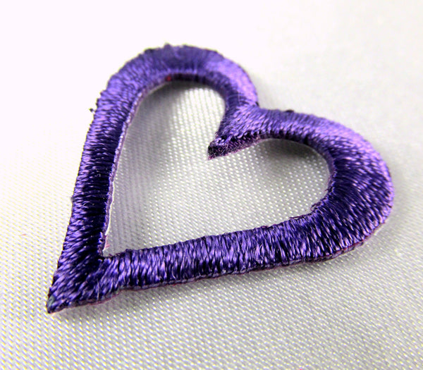 Iron On 1 Inch Open Heart Appliques in 6 colors-Appliques-Purple-Odyssey Cache