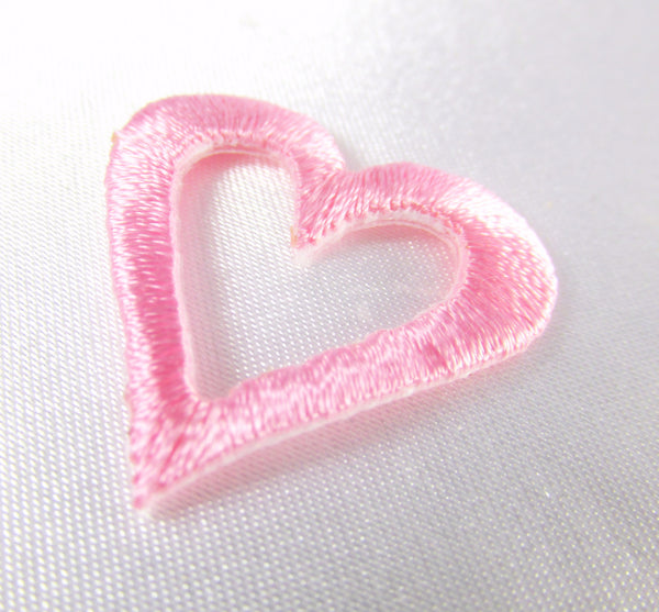 Iron On 1 Inch Open Heart Appliques in 6 colors-Appliques-Pale Pink-Odyssey Cache