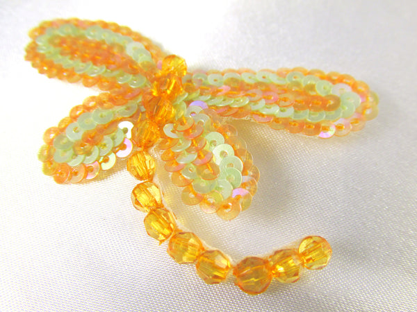 Dragonfly Iron on Appliques in Tangerine Mint, Fuchsia Blue, Blue Coral or Rose Aqua-Appliques-Tangerine Mint-Odyssey Cache