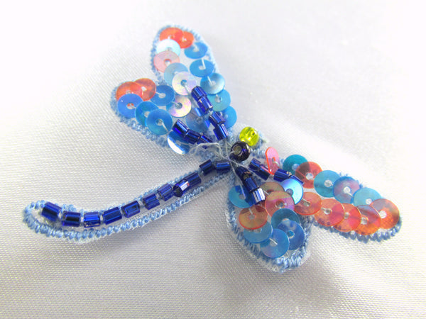 Dragonfly Iron on Appliques in Tangerine Mint, Fuchsia Blue, Blue Coral or Rose Aqua-Appliques-Blue Coral-Odyssey Cache