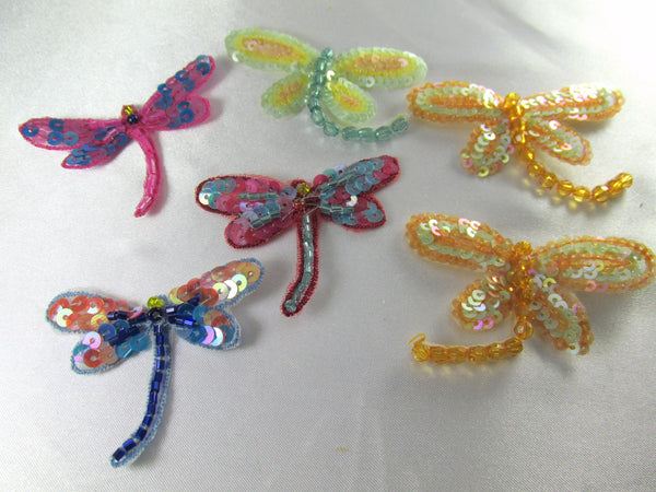 Dragonfly Iron on Appliques in Tangerine Mint, Fuchsia Blue, Blue Coral or Rose Aqua - Odyssey Cache