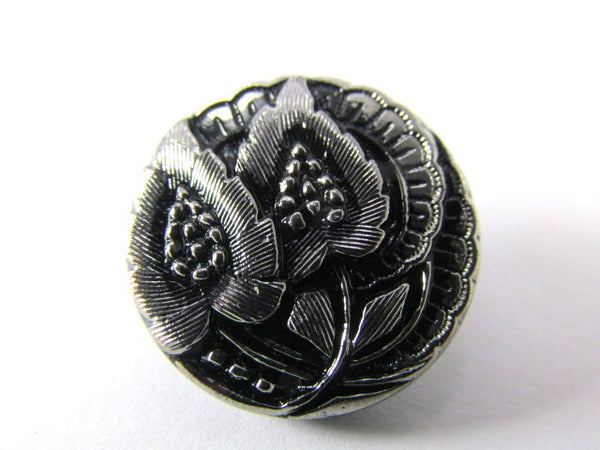 Black with Silver Leaves Czech Glass 20mm Button-Jewelry Beads-Odyssey Cache