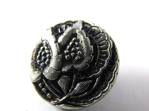 Black with Silver Leaves Czech Glass 20mm Button-Jewelry Beads-Default Title-Odyssey Cache