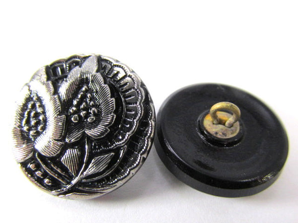Black with Silver Leaves Czech Glass 20mm Button - Odyssey Cache