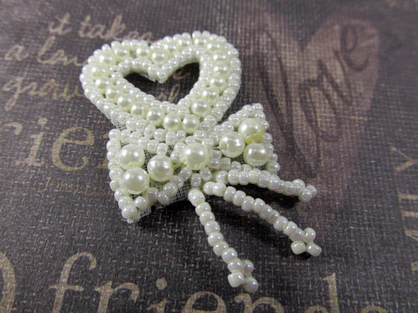 Small 2 Inch Ivory Pearl or White Pearl Heart Tassel Applique for Bridal or Costume Decor-Appliques-Odyssey Cache