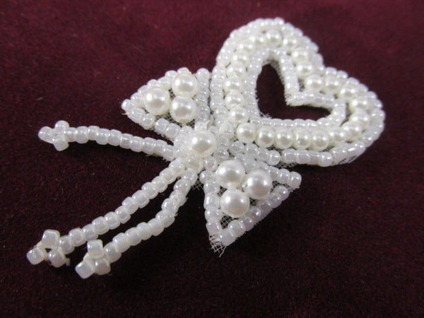 Small 2 Inch Ivory Pearl or White Pearl Heart Tassel Applique for Bridal or Costume Decor-Appliques-White-Odyssey Cache