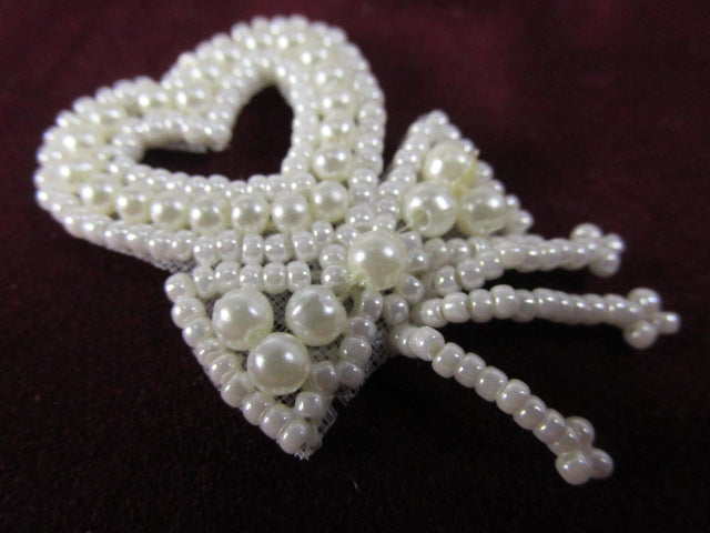 Small 2 Inch Ivory Pearl or White Pearl Heart Tassel Applique for Bridal or Costume Decor-Appliques-Ivory-Odyssey Cache