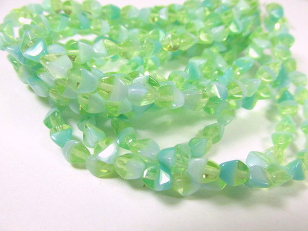 Honeydew Green Turquoise Czech Glass 5mm x 3mm Pinch Beads (30)-Jewelry Beads-Odyssey Cache