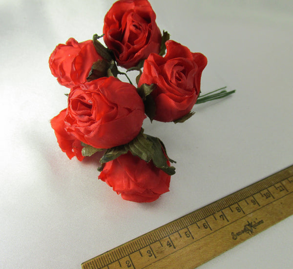 Red Silk Rose Millinery, Bridal or Craft Flowers-Craft Flowers-Odyssey Cache