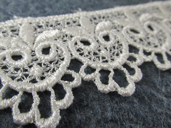 Ivory Owls in 1.75 inch wide Scalloped Venise Lace Bridal, Costume or Decorator Trim - Odyssey Cache