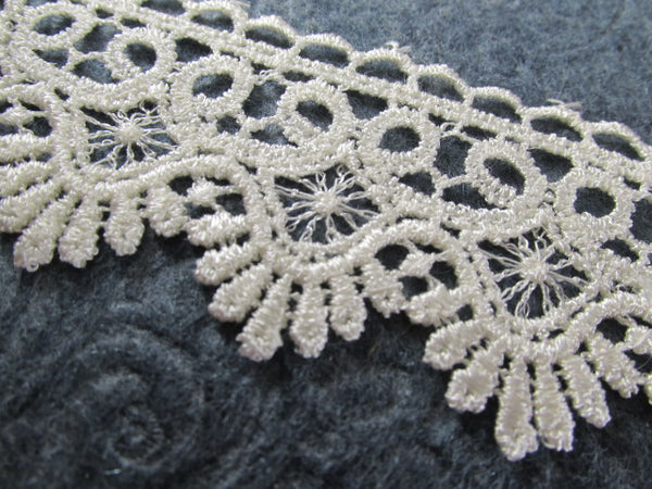Ivory 1.75 inch wide Fringed Scalloped Venise Lace Bridal, Costume or Decorator Trim by the yard - Odyssey Cache
