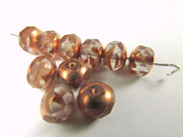 Copper Peach Light Brown Czech Glass 8mm x 6mm Faceted Rondelles-Jewelry Beads-Odyssey Cache