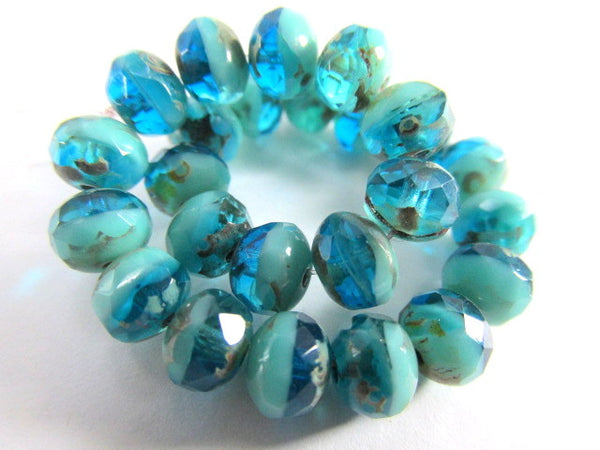 Aqua Green Picasso Czech Glass 7mm x 5mm Rondelles-Jewelry Beads-25 beads (full strand)-Odyssey Cache