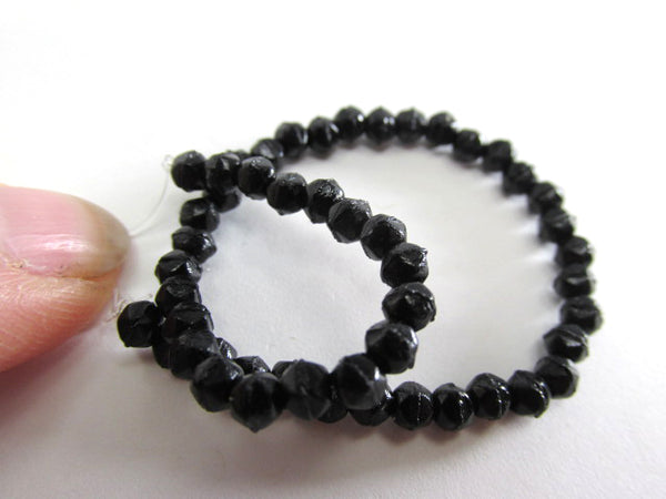 Jet Black 3mm Czech Glass English Cut Jewelry Beads - Odyssey Cache