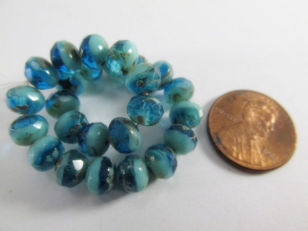 Aqua Green Picasso Czech Glass 7mm x 5mm Rondelles-Jewelry Beads-10 beads-Odyssey Cache