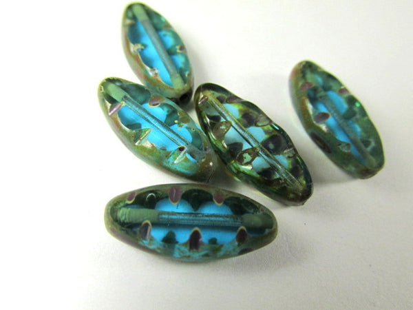 Aqua Turquoise Bronze Czech Glass 17mm Spindles (5)-Jewelry Beads-5 beads-Odyssey Cache